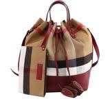 【BURBERRY】Canvas格紋棉麻手提/肩背二用水桶包(中型)(酒紅色)