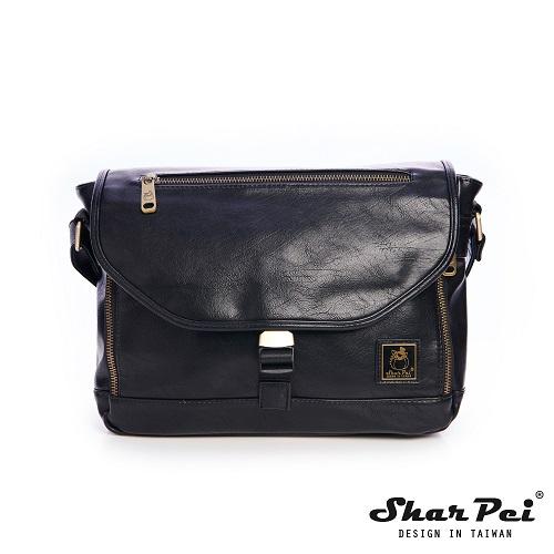 SharPei沙皮狗 - 城市漫遊 - 時尚叉釦橫式側背包 - 典藏黑 【SP-Z091K】