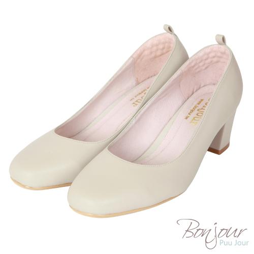 BONJOUR☆不挑腳穿4WAY方頭6cm氣墊高跟鞋Made in Taiwan【ZB0311】米