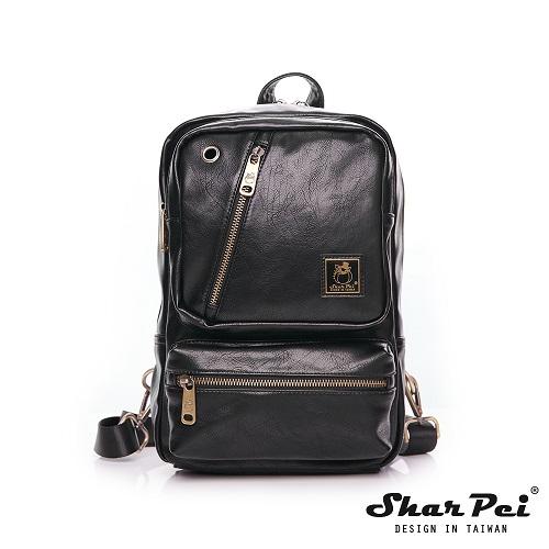 SharPei沙皮狗 - 城市漫遊 - 時尚多功能單肩包後背包 - 典藏黑 【SP-Z100K】