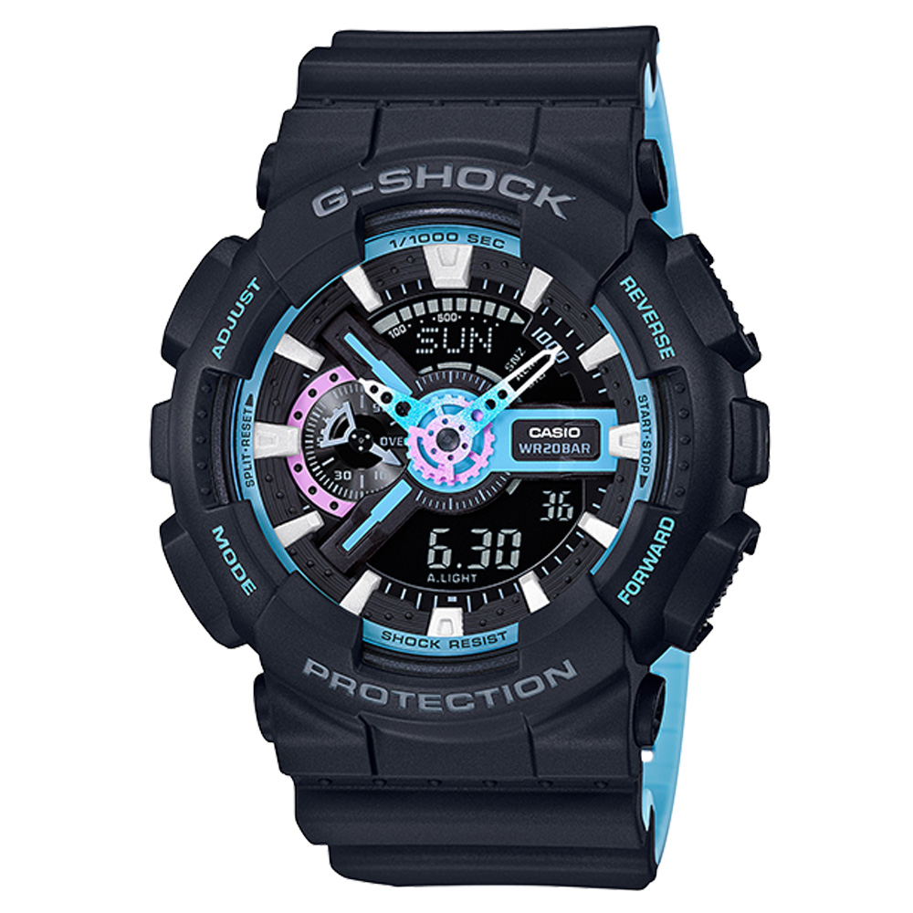 G-SHOCK 流行時尚雙顯男錶 樹脂錶帶 深灰X霓虹藍 防水200米 世界時間GA-110PC-1A