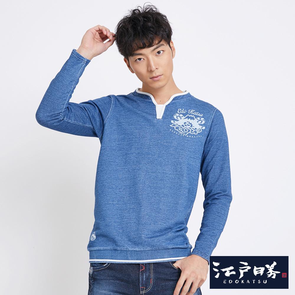EDWIN 江戶勝 特殊領型長袖T恤-男-漂淺藍