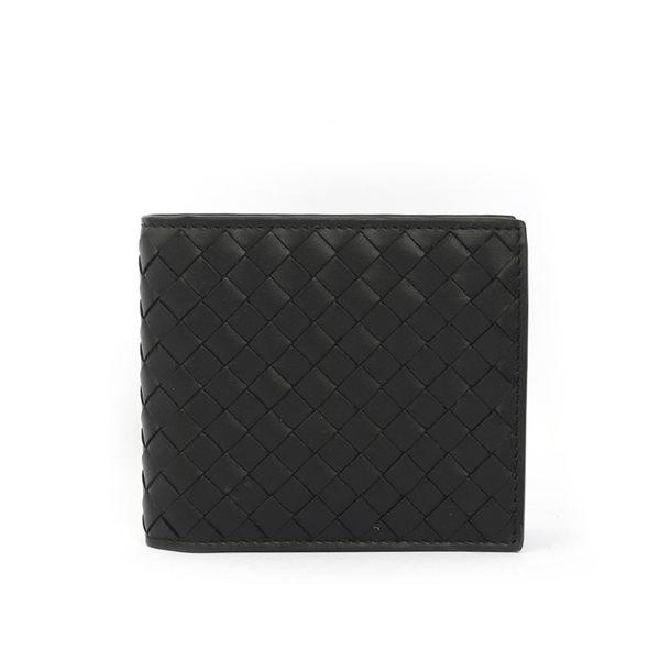 【BOTTEGA VENETA】牛皮編織零錢袋對開短夾(黑色)