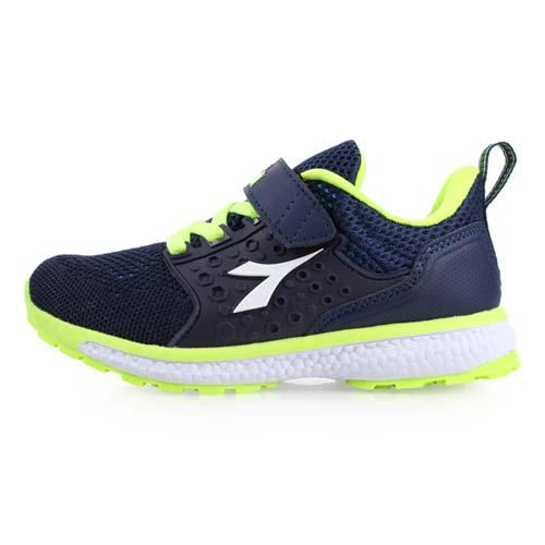 (童) DIADORA 男女中慢跑鞋-路跑 鞋 丈青螢光綠