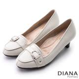 DIANA 漫步雲端焦糖美人款--皮帶飾釦真皮低跟鞋-米