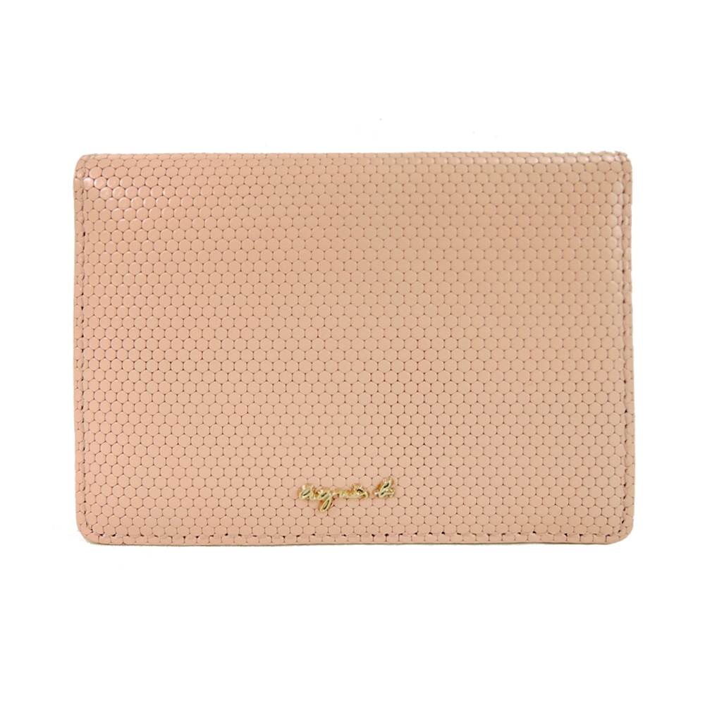 agnes b.蜂巢皮革証件票卡夾(粉膚)