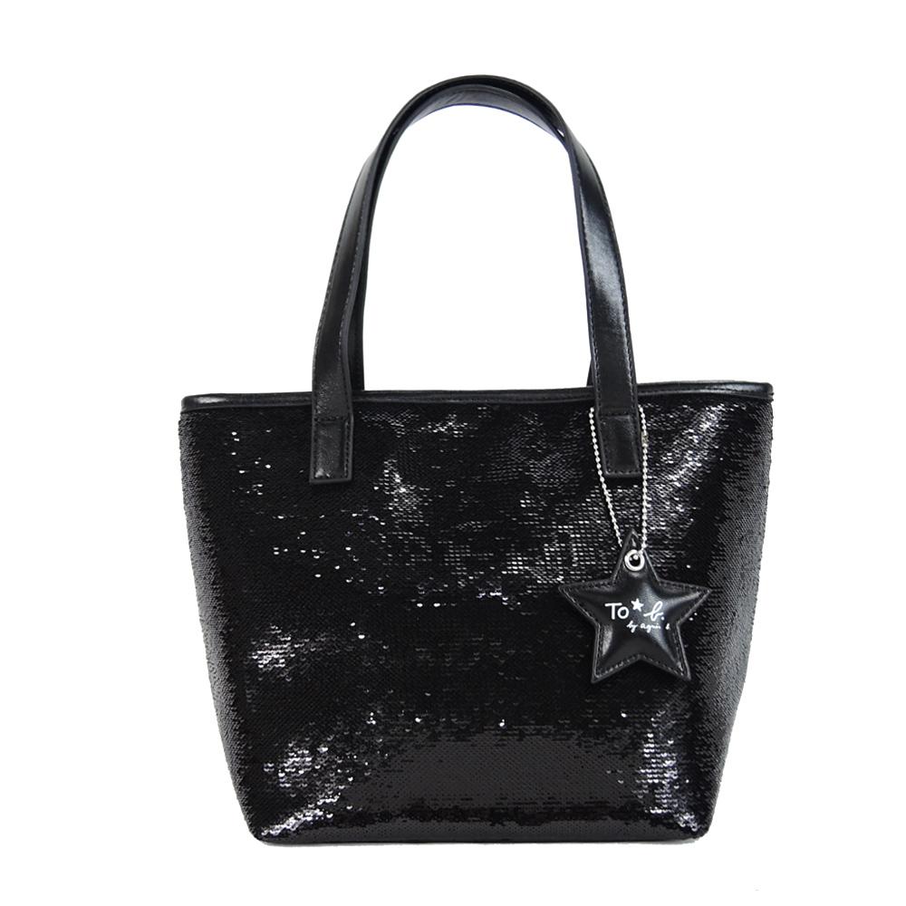 agnes b.星星吊飾亮片手提包(黑)