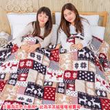 BELLE VIE 台灣製造羊羔法蘭絨加大厚被毯 (180X210cm) 【聖誕麋鹿】