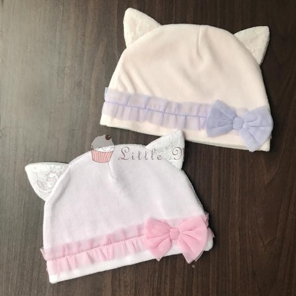 日本原裝進口 保暖透氣貓咪耳寶寶帽 二色