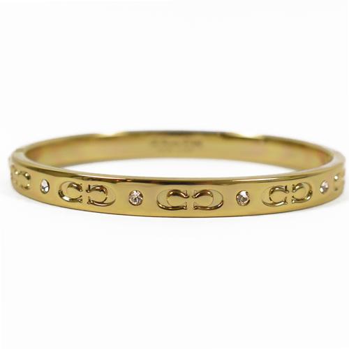COACH 新款經典C LOGO細版時尚手環.金
