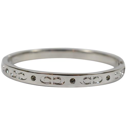 COACH  新款經典C LOGO細版時尚手環.銀