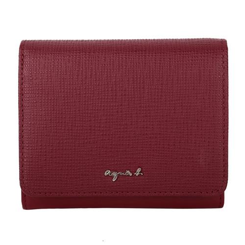 agnes b. -  草寫銀logo防刮拼接皮革短夾(紅)