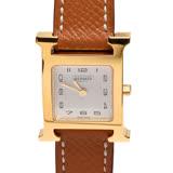 HERMES H PM系列小牛皮金框石英女仕腕錶(棕色/21mm)