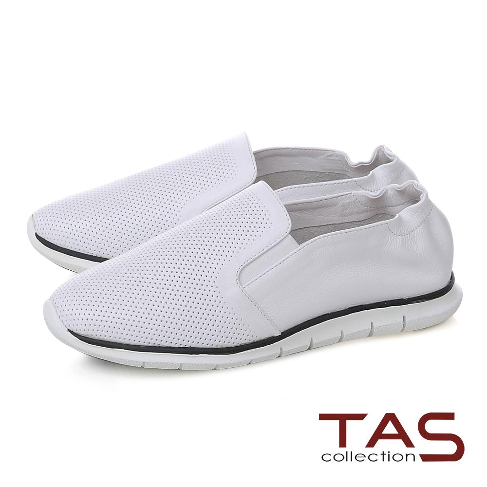 TAS 透氣沖孔百搭休閒鞋-經典白