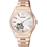 CITIZEN 珍愛女人心鏤空時尚機械櫻花版限量腕錶-玫瑰金-PC1003-74D