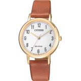 CITIZEN Eco Drive 簡約風格展現時尚優質皮革腕錶-咖啡+金色-EM0578-17A