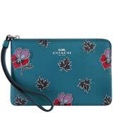 COACH 花朵圖樣PVC手拿包-孔雀藍色
