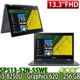 Acer Spin 5 SP513-52N-55WE 13.3吋FHD /i5-8250U 四核/Win10 輕薄觸控筆電-加碼送三合一清潔組/鍵盤保護膜/滑鼠墊/64G隨身碟/日系美型耳機麥克風