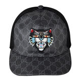 Gucci Supreme GG Angry cat圖印PVC棒球網帽(M/L/灰藍)