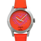 COACH Keith Haring真皮時尚腕錶-橘紅色