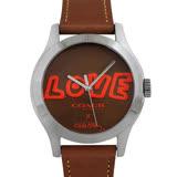 COACH Keith Haring真皮時尚腕錶-焦糖色
