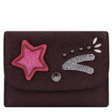 COACH 防刮皮革星星徽章鉚釘證件名片短夾-深咖啡色