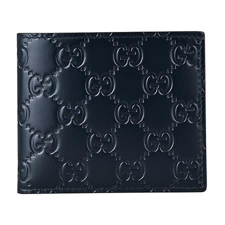 GUCCI經典SIGNATURE系列雙G壓紋LOGO牛皮對折短夾(黑夜藍)