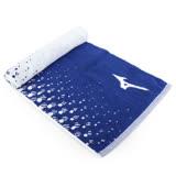 MIZUNO 提花運動毛巾-慢跑 路跑 游泳 浴巾 美津濃 藍白 F