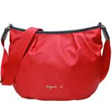 【agnes b.】VOYAGE 金屬品牌字母LOGO 抓皺尼龍斜背包(紅色)