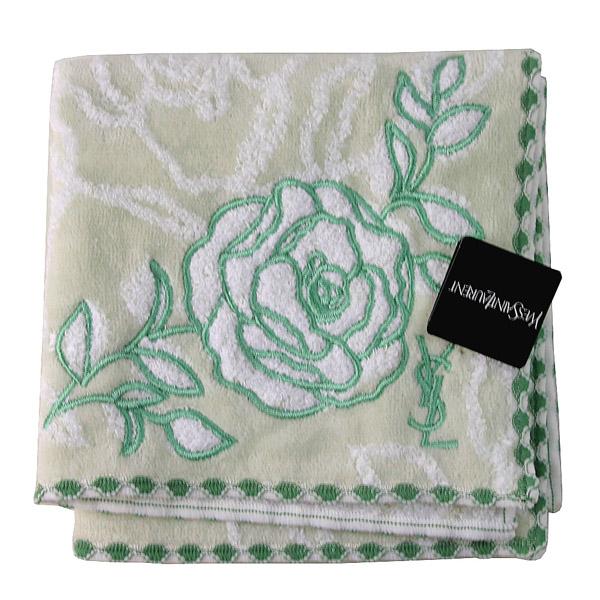 【YSL】立體玫瑰底紋+玫瑰刺繡 質感方巾(翡翠綠)