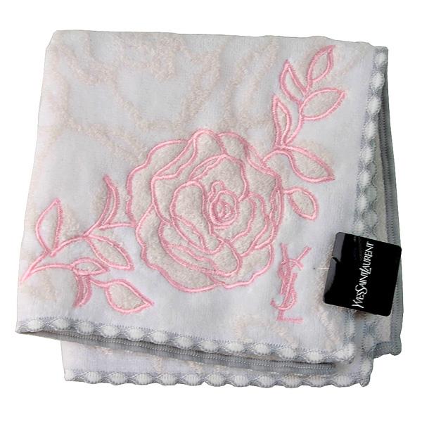 【YSL】立體玫瑰底紋+玫瑰刺繡 質感方巾(米白)