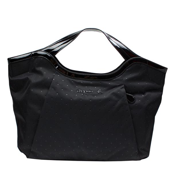 【agnes b.】立體點點壓印時尚手提包(黑色)
