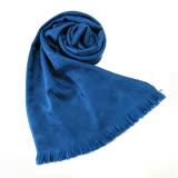 COACH C LOGO 羊毛混絲流蘇圍巾(寶藍)