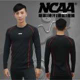 NCAA 男款機能緊身保暖發熱長T-黑