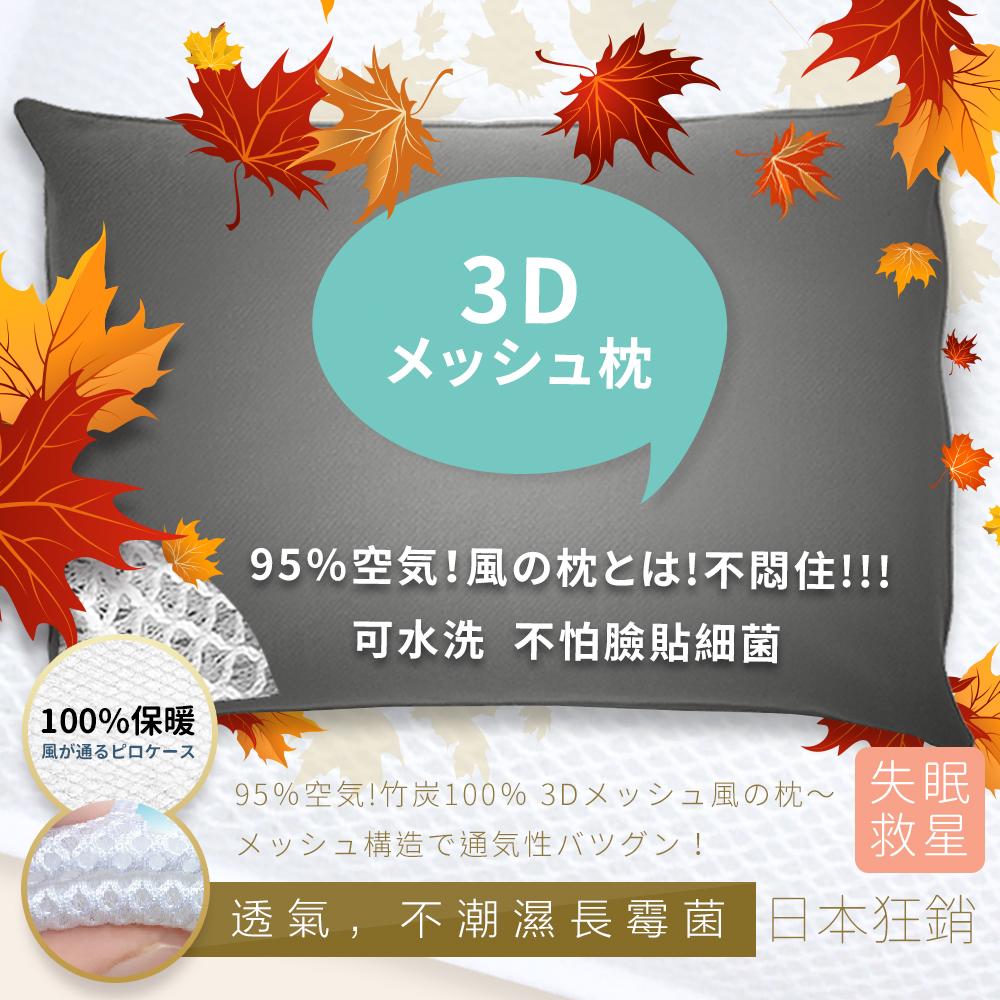 【優宅嚴選】日本熱賣專利竹炭透氣彈性支撐可水洗枕