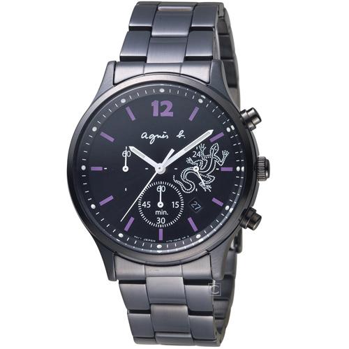 agnes b. 蜥蜴經典趣味計時腕錶 V175-0DP0SD  BU8013P1