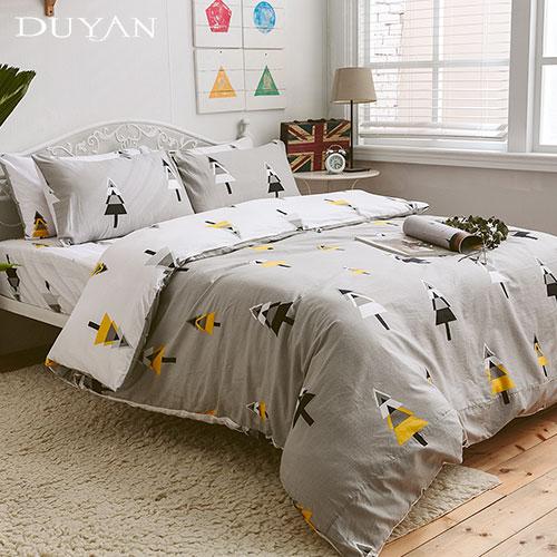 《DUYAN 竹漾》台灣製 100%頂級純棉雙人四件式鋪棉兩用被床包組-南歐森林 AB版