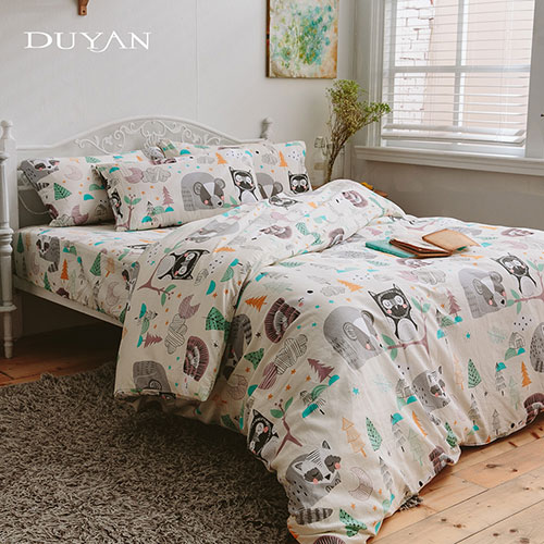《DUYAN 竹漾》台灣製 100%頂級純棉雙人加大四件式鋪棉兩用被床包組-夢想樂園