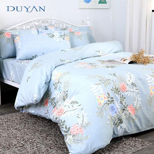《DUYAN 竹漾》台灣製 100%頂級純棉雙人四件式鋪棉兩用被床包組-清舞悠然