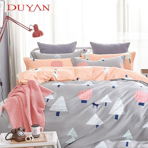 《DUYAN 竹漾》100%頂級純棉雙人四件式鋪棉兩用被床包組-挪威森林 AB版 台灣製