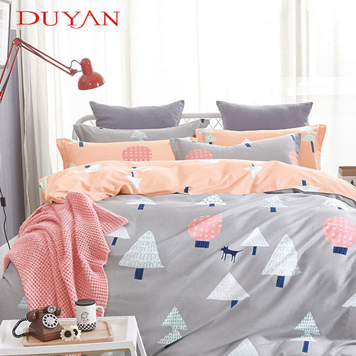 《DUYAN 竹漾》100%頂級純棉雙人加大四件式鋪棉兩用被床包組-挪威森林 AB版 台灣製