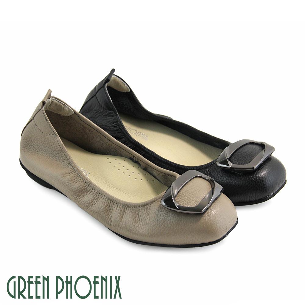 【GREEN PHOENIX】梯形金屬裝飾全真皮平底娃娃鞋