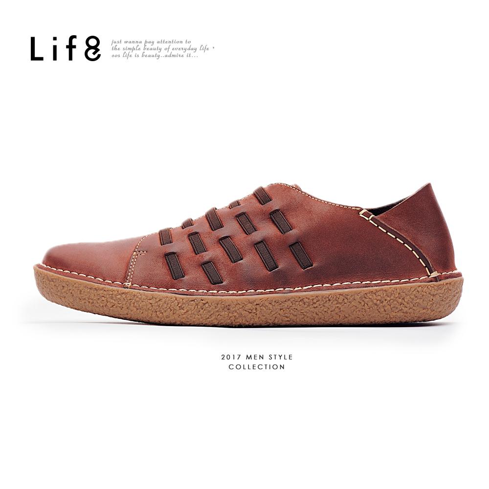 【Life8】Casual 2way後踩 蠟感牛巴戈 皮革編織休閒鞋-09828-咖色