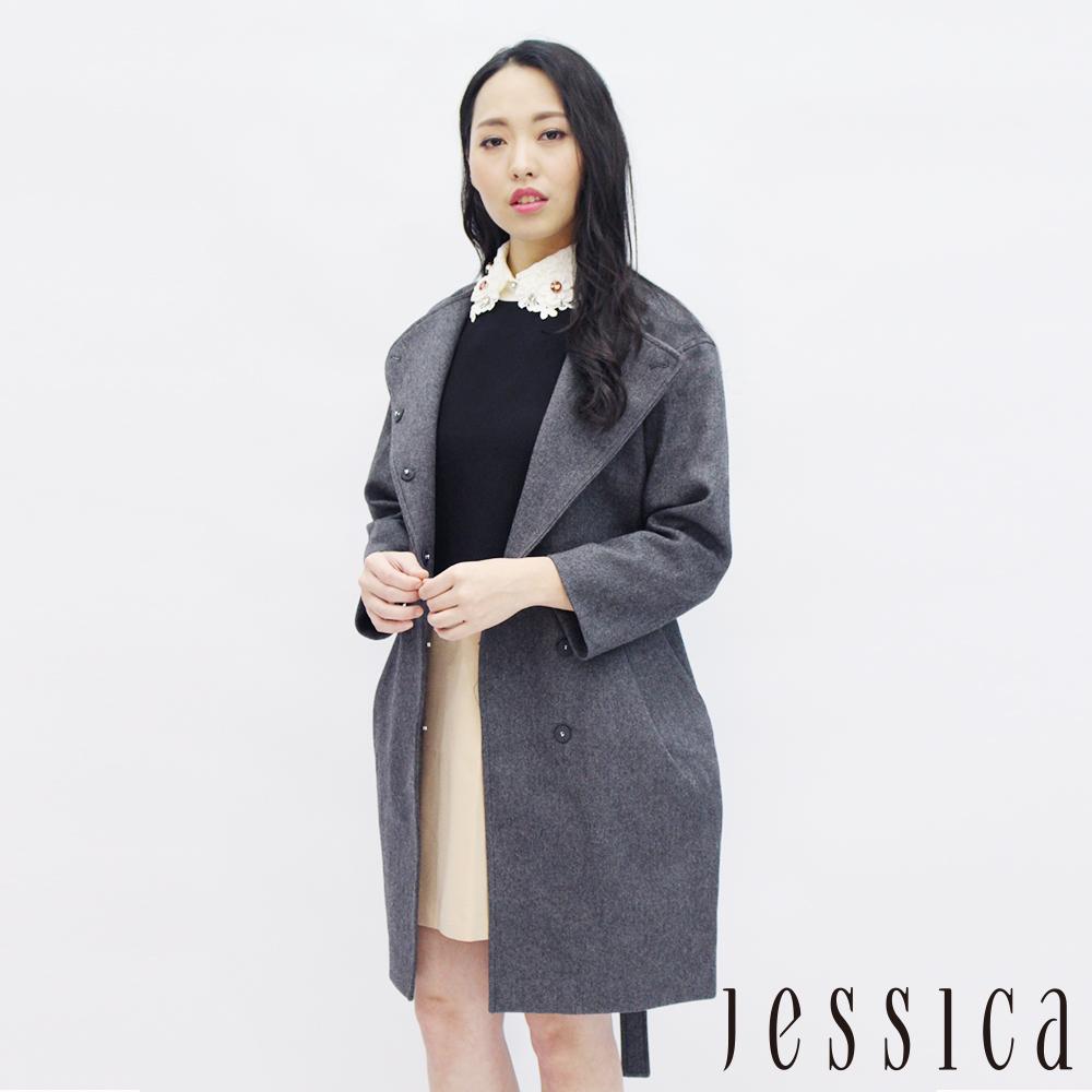 JESSICA - 氣質宣言混羊毛排釦大衣(灰)