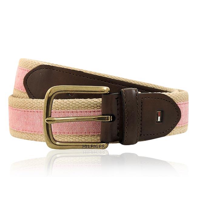 TOMMY 厚織帆布紳士皮帶-粉紅色(M/L/XL號)