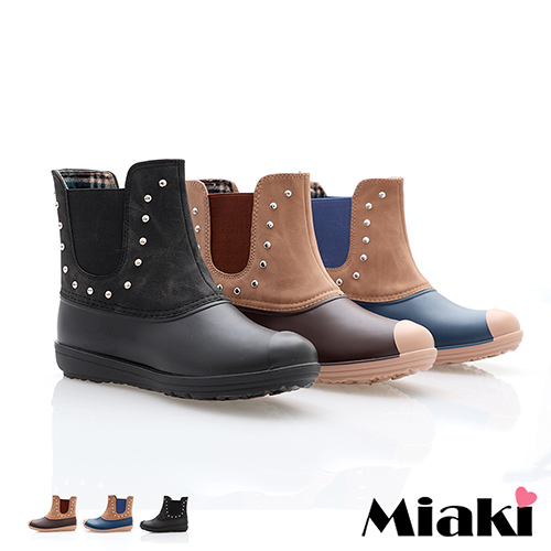 【Miaki】雨靴獨賣首推鉚釘防水短靴 (棕色 / 黑色 / 藍色)