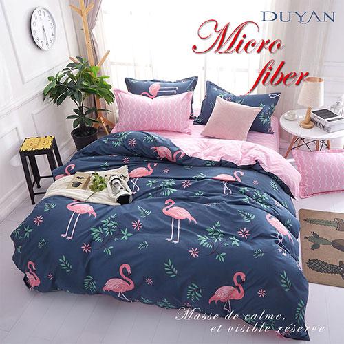 《DUYAN 竹漾》100%天絲絨雙人床包三件組-紅鶴樂園 AB版 台灣製