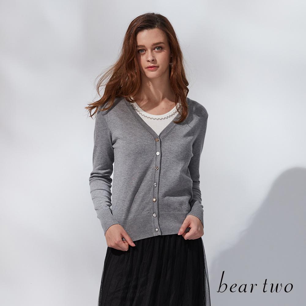 beartwo 簡約V領開襟針織外套(二色)