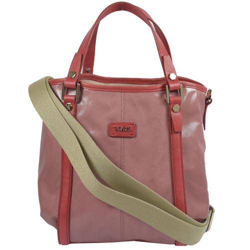 TODS G BAG 亮面撞色防水PVC皮飾邊兩用慾望包.桃紅