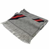 GUCCI 經典雙G緹花羊毛絲綢披肩圍巾.灰藍紅